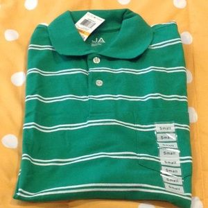NWT green striped polo shirt, size small.
